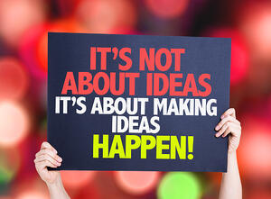Its Not About Ideas Its About Making Ideas Happen card with bokeh background